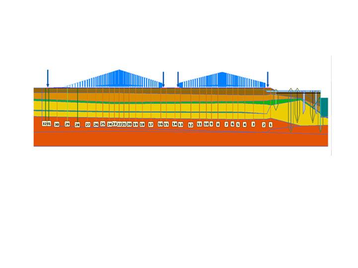 Perfil transversal de las Cimentaciones nave TRAMER Port de Barcelona Terminal Tramer Tramer Terminal